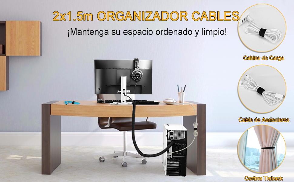 MOSOTECH Organizador Cables, 2 X 1.6m Cubre Cables Expandible con Corte Fácil Negro Bridas, Organizador de Cables Mesa a Prueba de Polvo para Office y PC Escritorio, Ø19mm, Negro: Amazon.es: Bricolaje y