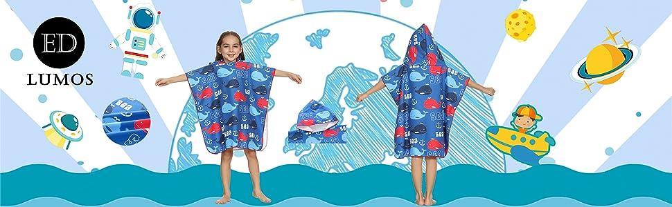 ED-Lumos Toalla de ba/ño con Capucha para ni/ño ni/ña Poncho Playa Infantil Microfibra Albornoz 4-7 a/ños Dinosaurio Azul y Verde
