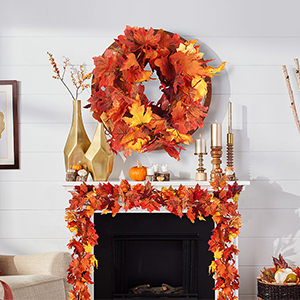 2 Pack Artificial Maple Leaf Garlands, 5.9 ft/Piece Autumn Hanging Fall Leave Vines