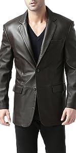BGSD Men's Richard Classic Leather Blazer Lambskin Sport Coat Jacket