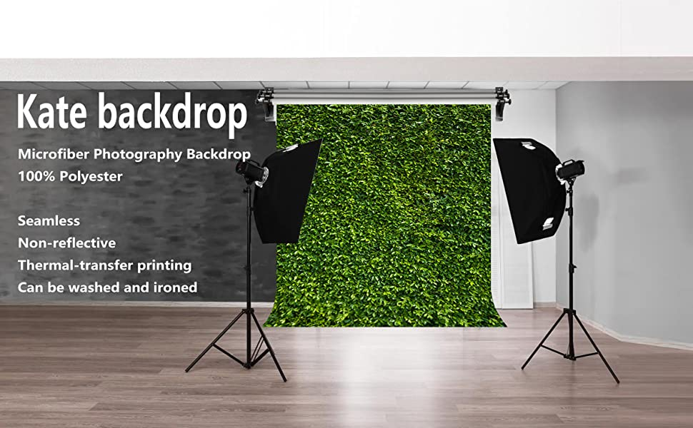 W H Kate 6.5x10ft//2m x3m Wedding Backgrounds Green Grass Backdrop Bridal Shower Video Photography Studio Backdrops Props