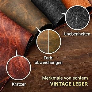 Rindsleder Echtes Vintage Leder