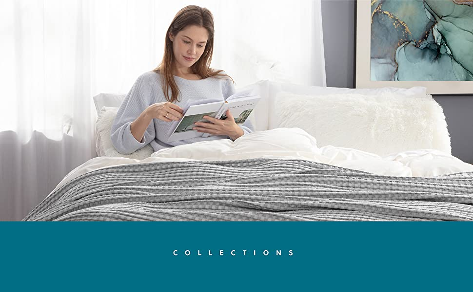 get cozy with Bedsure 50% Cotton 50% Bamboo Waffle Weave Blanket