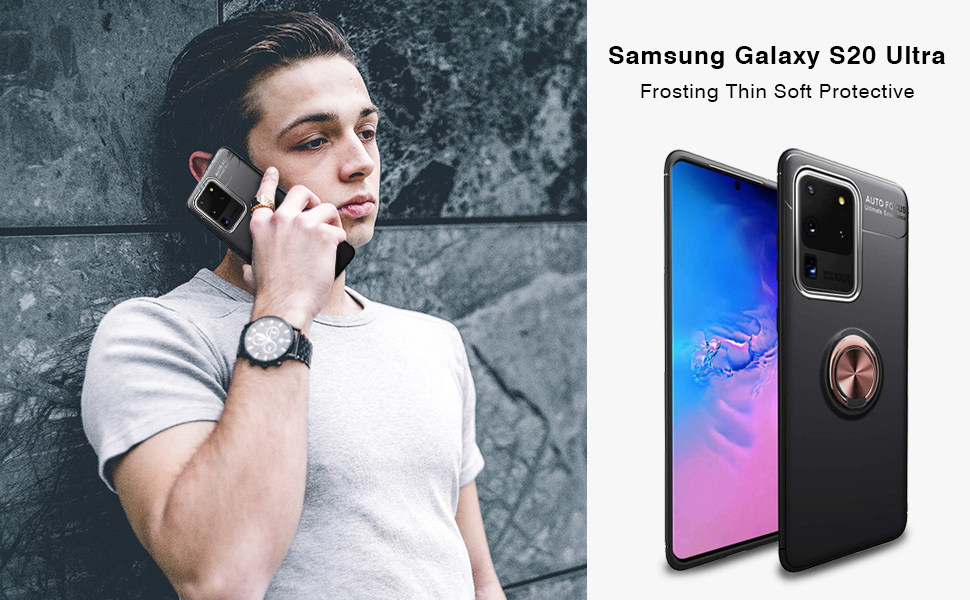 Newseego Compatible with Samsung Galaxy S20 Ultra Case Frosting Thin Soft Protective and 360/° Adjustable Finger Ring Holder Kickstand Fit Magnetic Car Mount-Black+Rose