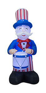 AJY 6 FT Patriotic Independence Day Inflatable Uncle Sam Playing the Drums