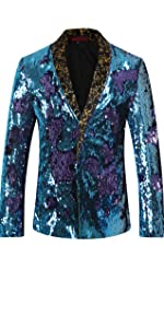 Men's Sport Coat Slim Fit Shawl Collar Sequins Dance Party Blazer Jacket