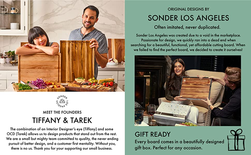 The founders of Sonder Los Angeles. A girl opening a gift box with a cutting board inside.