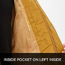 Inside pocket on left inside