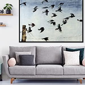 Living Room Art, Bird Art, Couch, Black Float, Framed Art, Canvas Print