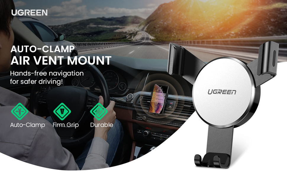 auto-clamping gravity car vent holder