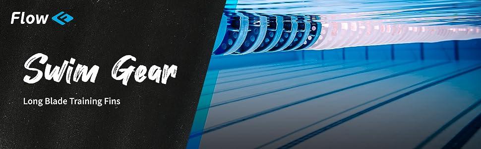 flow swim swimmer swimming gear long blade training fins set