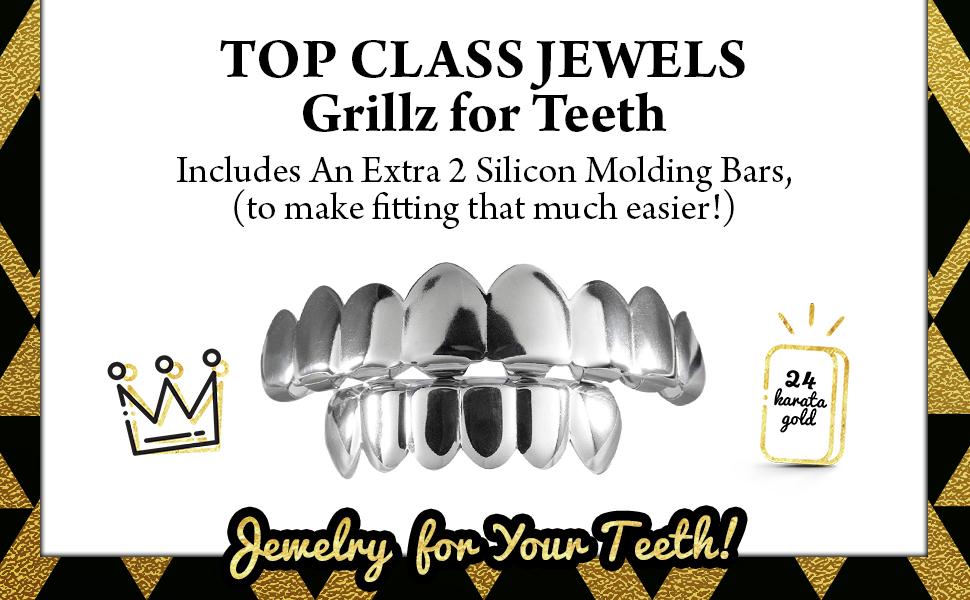 Top Class Jewels Plaqu/é Or Blanc 24K 8 dent Grillz 2 Barres de Moulage suppl/émentaire