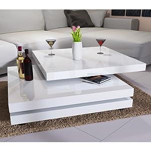 Couchtisch Wohnzimmertisch Hochglanz Beistelltisch Tisch Sofatisch Tischplatte 360° drehbar Farbe Schwarz Deuba