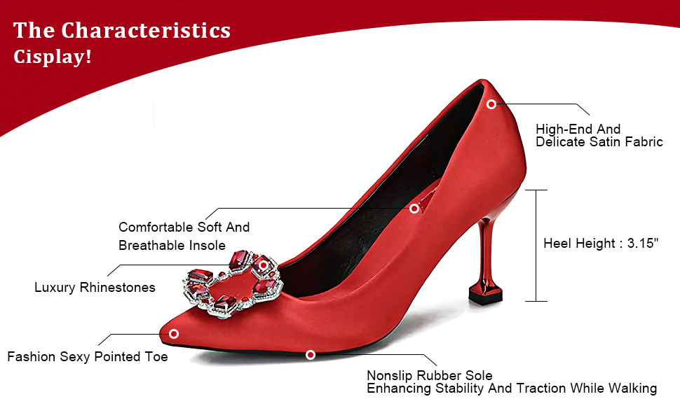 Women's Stiletto Pumps Closed Pointed Toe Diamonds Slip On Dress Wedding Satin High Heels Shoes