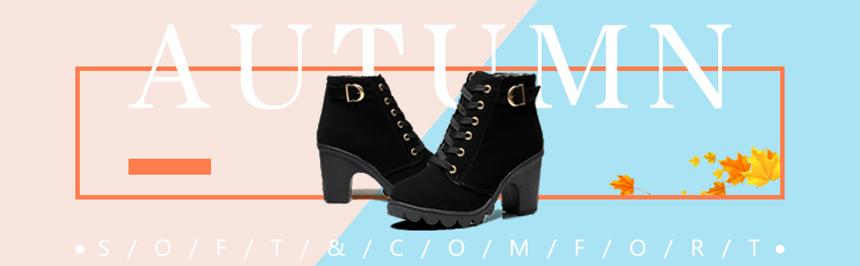 womens ankle martin boots lace up platform chunky high heels zipper autumn buckle round toe shoes