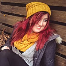 oversizde slouchy knit beanie and matching infinity scarf bundle set