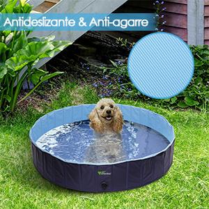 Piscina Grande Resistente y Estable Ba/ñera Plegable para Mascotas amzdeal 600L Piscina para Perros M/últiples Usos para Mascotas y Ni/ños /φ160*30cm PVC Antideslizante