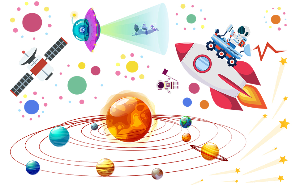 Space Planet Wall Stickers Decals Removable Solar System Watercolor Space Vinyl Wall Stickers