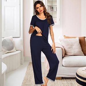 Loungewear for women pj set round neck shirts with pj bottoms loose fit pajama 2 pcs set