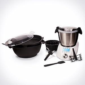IKOHS CHEFBOT Compact STEAMPRO - Robot de Cocina Multifunción, Cocina al Vapor, 23 Funciones, 10 Velocidades con Turbo, Bol Acero Inoxidable 2, 3 L, Libre BPA (con Vaporera y Recetario - Blanco): Amazon.es