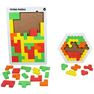 Butterflyfields Brain Games for Kids 5 years Adults Tangram Tetris Hexagonal Jigsaw Puzzle Gift
