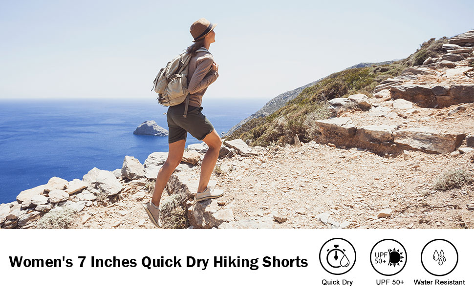 Travel Running BALEAF Womens 7 Athletic Shorts 5 Pockets Quick Dry UPF 50 Stretch Hiking Shorts for Camping