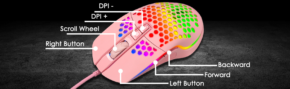 gaming mouse with 7 programmable buttons