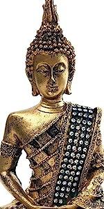 "Thai Buddha Meditating Peace Harmony Statue, 8""H"