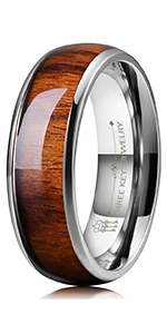 8mm titanium rosewood wedding ring