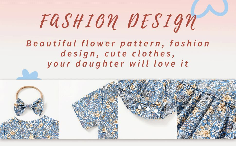 Blue floral clothes summer for baby girl