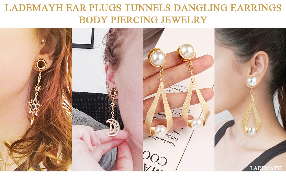 2 Pairs Lademayh Ear Tunnels Plug Dangle Charms Body Piercing Jewelry Stainless Steel Ear Gauges