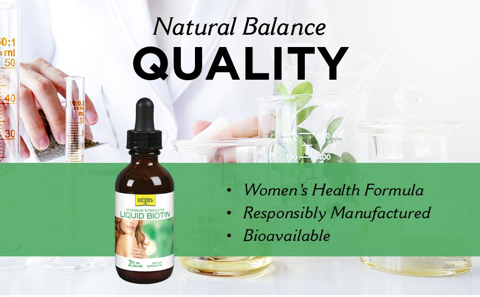 Natural Balance Biotin Liquid 5000mcg Healthy Hair Skin Health amp; Strong Nails Support 2 oz 60 Serv