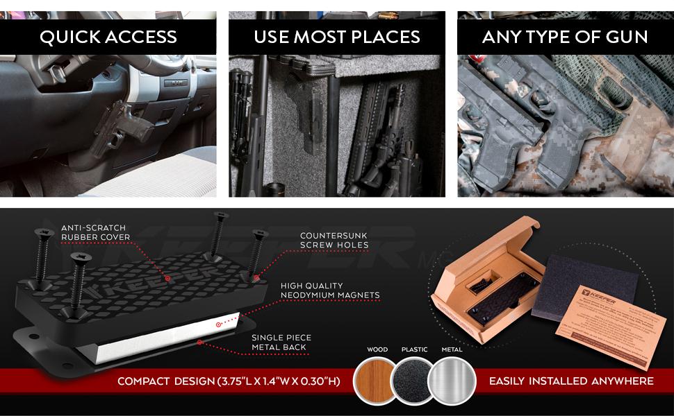 keeper mg gun magnet holster holder for car home office safe gun accessory