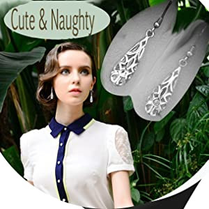 The teardrop filigree earrings like a cute and naughty child, full of activity.
