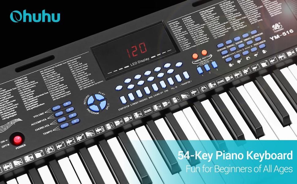 MUSICAL KEYBOARD PIANO 54 KEYS ELECTRONIC ELECTRIC DIGITAL BEGINNER ADULT GIFT