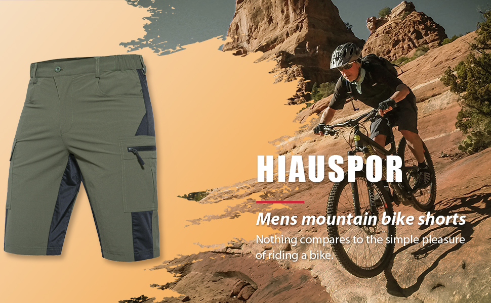 Hiauspor Mens Mountain Bike Shorts MTB Shorts