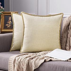 farmhouse linen pillow covers beige cream vintage retro rustic
