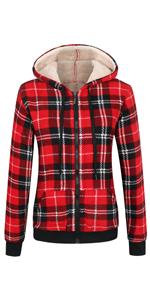 Women's Sherpa Lined Zip Up Hooded Plaid Shirt Jac Sweater Jacket