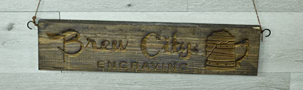 Custom Personalized Engraved Wood Sign with Brew City engraving Logo hanging from Chain