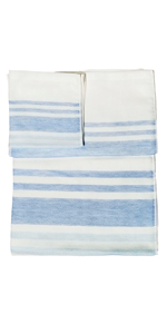 IPPINKA Senshu Japanese Towel, Set of 3 Sizes, Ultra Soft, Quick-Drying, Two-Tone End Stripes, Blue