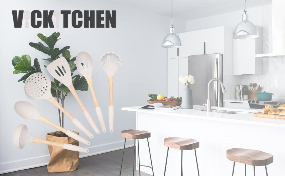white kitchen utensils set