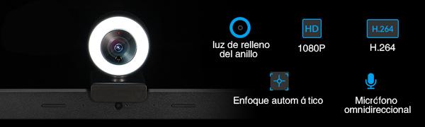 camara web compatible con multiples resoluciones hasta 1080P. Ideal para retransmitir en directo
