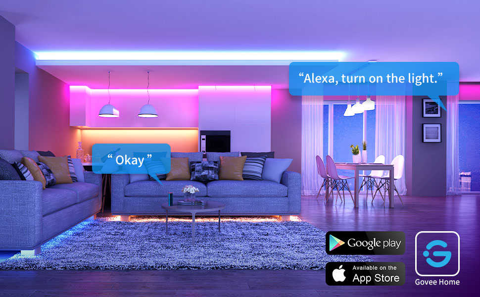 Govee Wifi RGB Led Strip Lights are controlled by APP, Alexa, Google Assistant and Control Box.