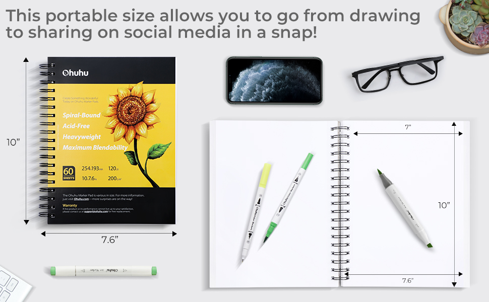 eavy Smooth Drawing Papers, 60 Sheets/120 Pages, Spiral Bound Sketch Book Marker Pads Art Sketchbook