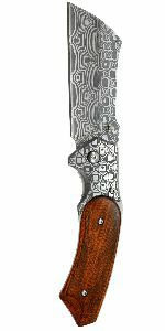 """8"""" Damascus etched Folding Cleaver"""