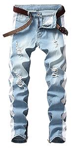 Denim skinny men jean skinny fit destroyed jean men straight striped denim pants white ripped jean
