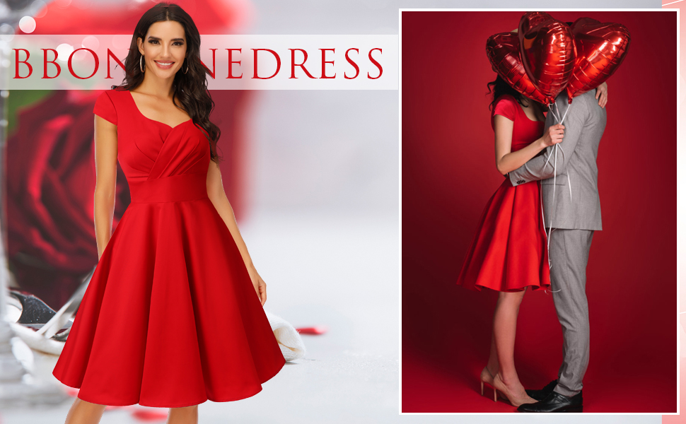 vintage dresses red cocktail dress for women red vintage dress for christmas party retro