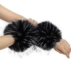 La Carrie Womens Snakeskin Print Faux Fur Wrist Cuffs,Winter Fox Furry Bands Arm Warmer