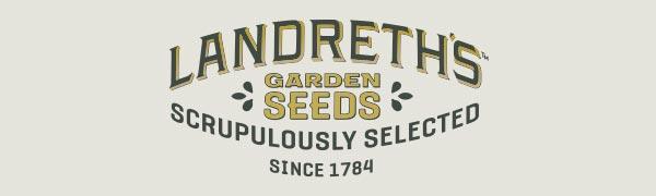 landreth's garden seeds logo in hunter green on beige background since 1784