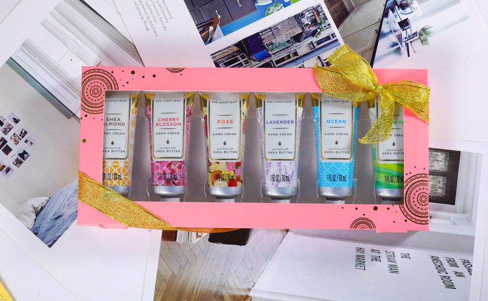 pink hand cream shea butter set